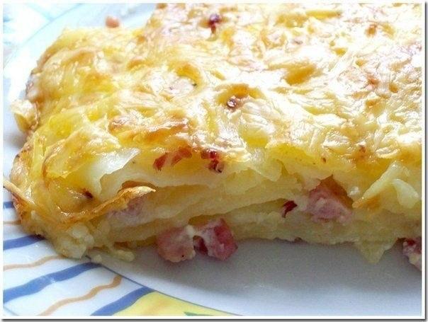 Рецепт Картофельная запеканка с копченым окороком