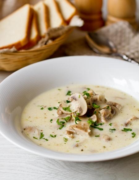 Рецепт Сливочный суп с курицей и грибами