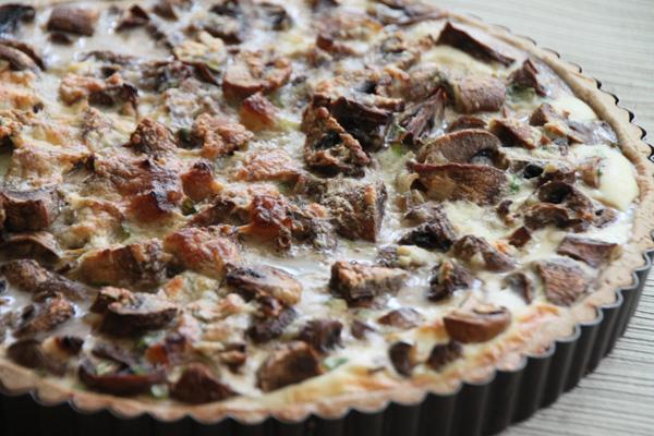 Рецепт Киш с шампиньонами и салом