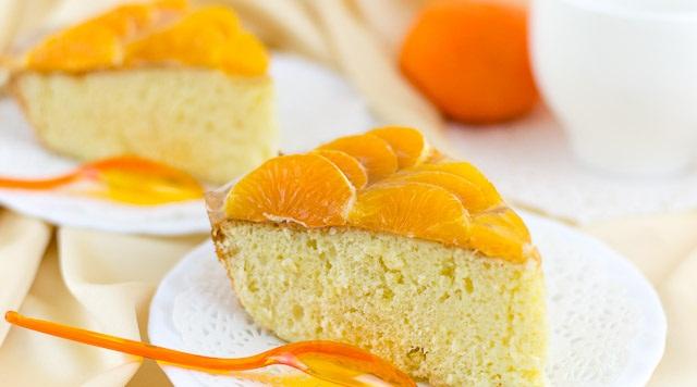 Рецепт Бисквит со сливочной пропиткой и мандаринками