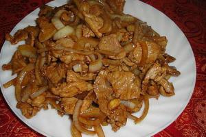 Рецепт Жареное мясо с луком