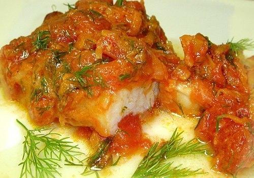 Рецепт Рыба, тушеная с чесноком