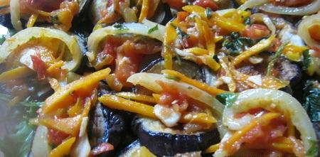 Рецепт Жареные баклажаны с овощами