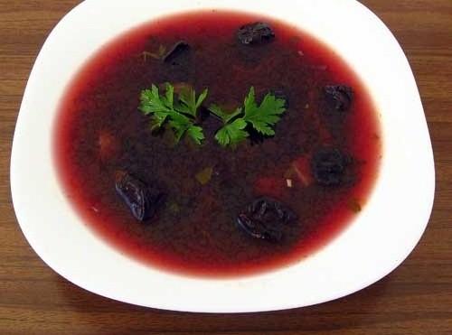 Рецепт Постный борщ с черносливом