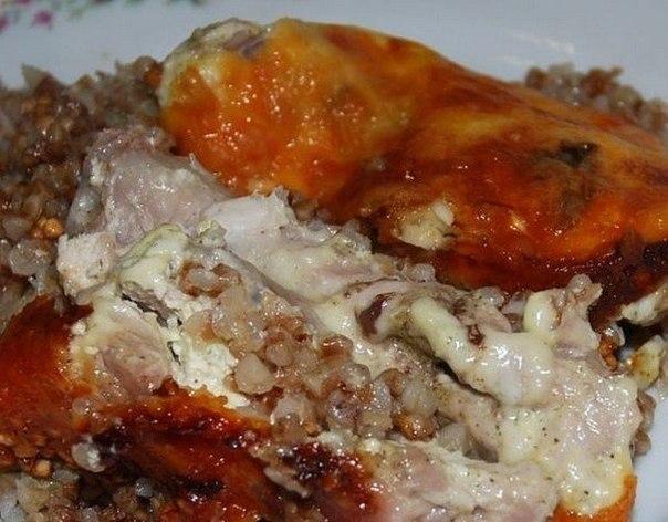 Рецепт Курица, запеченная с гречкой