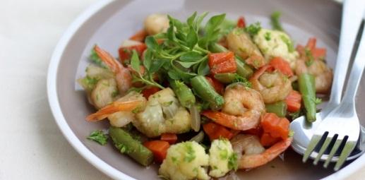 Рецепт Овощное соте с креветками