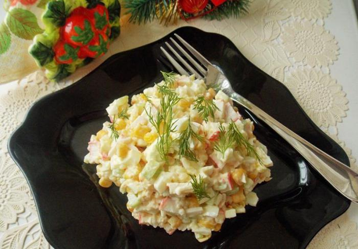 Рецепт Салат с крабовыми палочками,кукурузой и огурцом