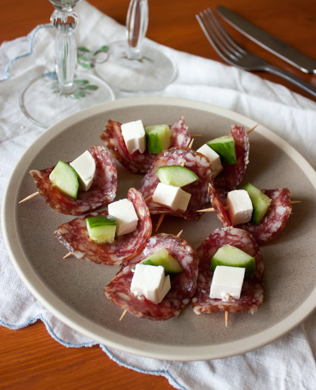 Рецепт Канапе с салями