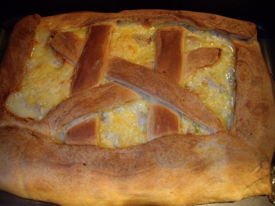 Рецепт Пирог с курицей и луком пореем