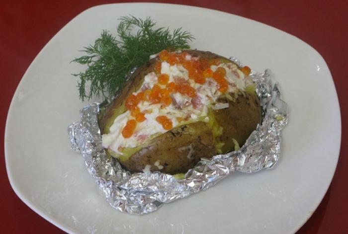 Рецепт Картофель с сырно-рыбной начинкой