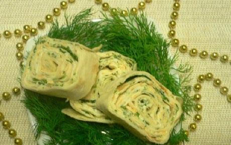 Рецепт Рулет из лаваша с яйцом и плавленным сыром